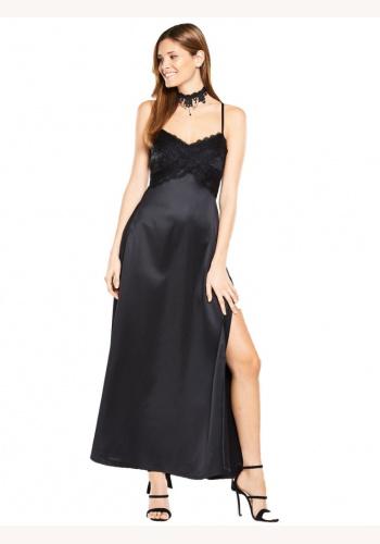 648e16b31882 Čierne saténové dlhé šaty s čipkou na tenké ramienka 297V