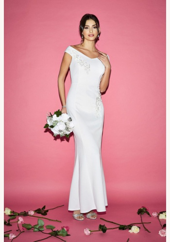 Biele dlhé svadobné šaty s výšivkou s kamienkami morská panna 224Q cd1dd8fe771