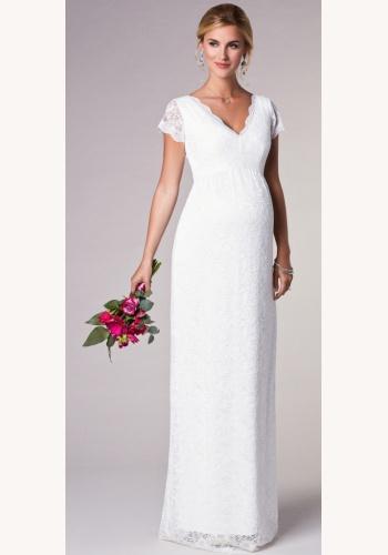 Tiffany Rose smotanové dlhé svadobné tehotenské čipkované šaty s krátkym  rukávom 225TR 0eea1ffa233