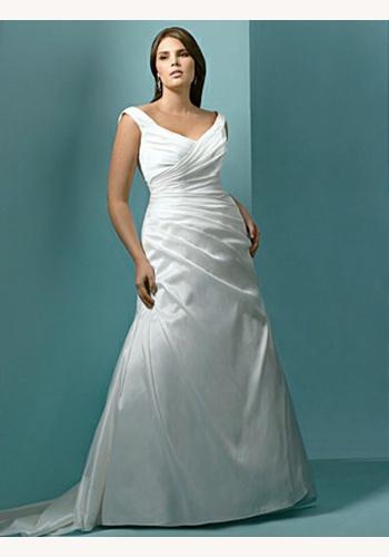 627b4405deec Biele dlhé svadobné šaty s výstrihom na ramienka 078