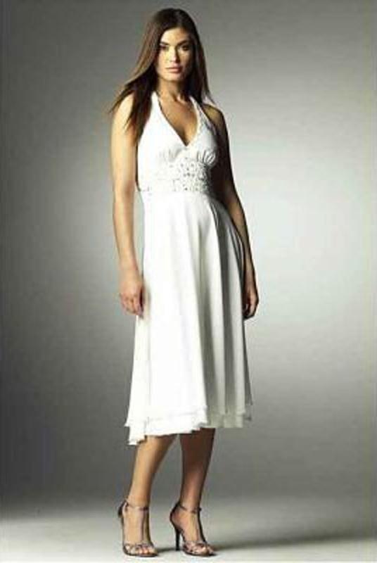 8351865d53e5 Biele midi šaty so zapínaním okolo krku 001 - Salón Emily