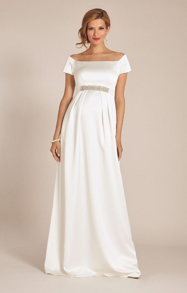 Tiffany Rose smotanové dlhé svadobné saténové tehotenské šaty s krátkym  rukávom 227TR f3ec944baaa