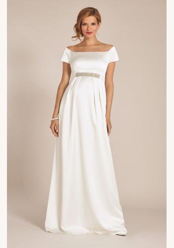 Tiffany Rose smotanové dlhé svadobné saténové tehotenské šaty s krátkym  rukávom 227TR 6f723f8b61d