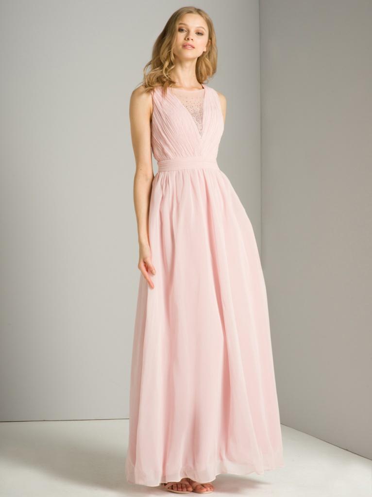 e368cd924411 Ružové dlhé šaty s kamienkami bez rukávov 416Ca - Salón Emily