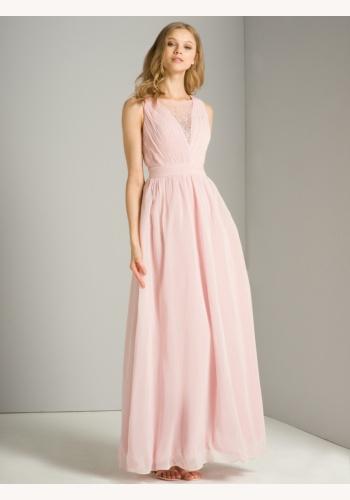 cd4e4d823edf Ružové dlhé šaty s kamienkami bez rukávov 416Ca