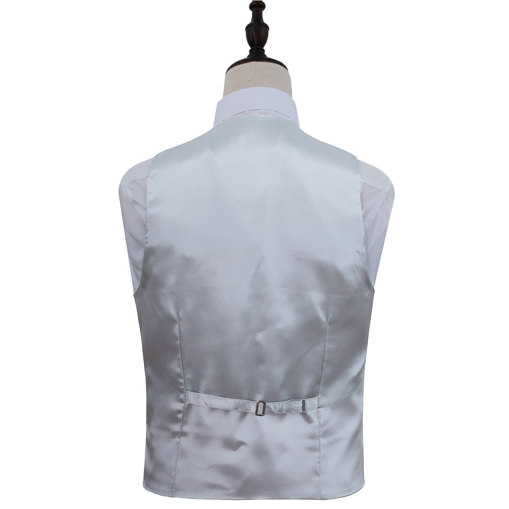 415d6620a96d Strieborno-šedá kvetinová svadobná vesta s kravatou 070DO - Salón Emily
