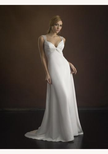 c1ac2f66322b Biele dlhé svadobné saténové šaty s výstrihom na ramienka 089
