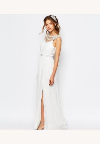 b8c91a10f12c Biele dlhé šaty s rozparkom bez rukávov 430TCd