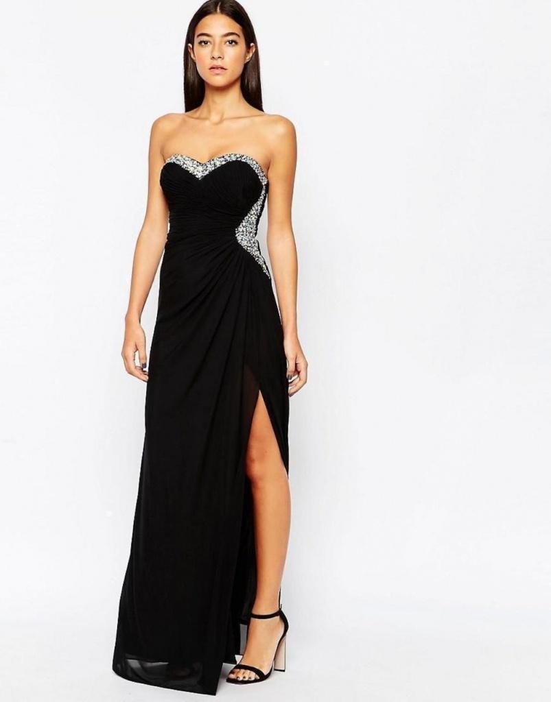8d261b2aa86d Čierne dlhé korzetové šaty s kamienkami 420LPa - Salón Emily