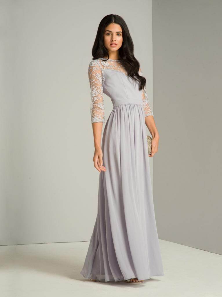 Šedo-levandulové dlhé šaty s čipkovaným 3 4 rukávom 427C 5f01cbcb8fd
