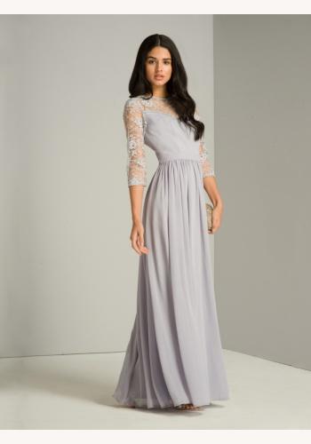 Šedo-levandulové dlhé šaty s čipkovaným 3 4 rukávom 427C eb4bb14e595