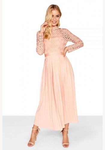 Broskyňové midi šaty so skladanou sukňou s dlhým rukávom 197La e41dedc9fd