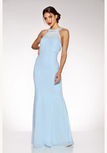 Modré dlhé šaty bez rukávov so štrasom a perlami morská panna 428Q d141afd9246