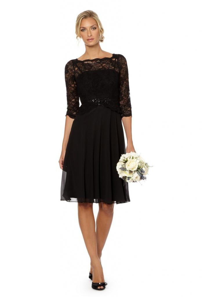 315be8190932 Jenny Packham čierne midi šaty s čipkovaným 3 4 rukávom 199JP ...