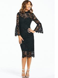 d4ea053aa8e1 Čierne midi čipkované šaty s dlhým volánovým rukávom 184MK - Salón Emily