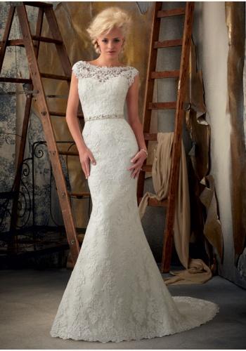 81e0f9317a5a Biele dlhé svadobné čipkované šaty bez rukávov morská panna 105