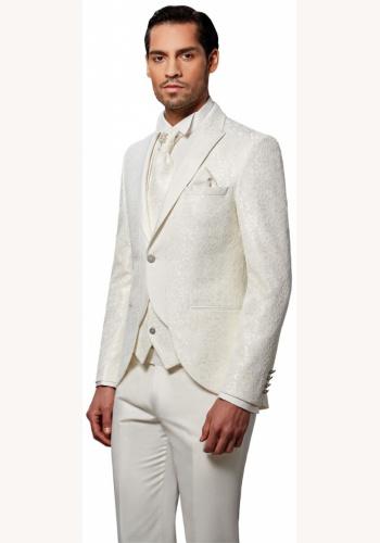 0dfe91e72 Smotanový pánsky svadobný 8-dielny oblek tuxedo slim fit 038P - Salón Emily