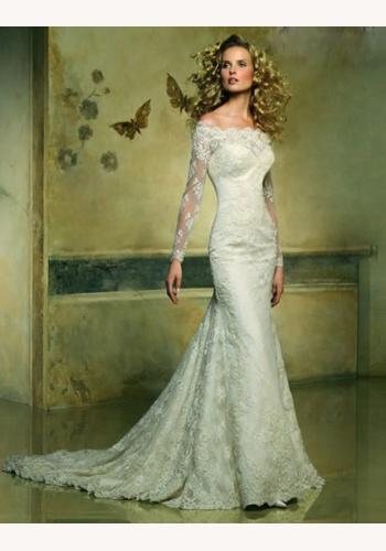 8e0f973fc652 Smotanové dlhé svadobné čipkované šaty s dlhým rukávom morská panna 109