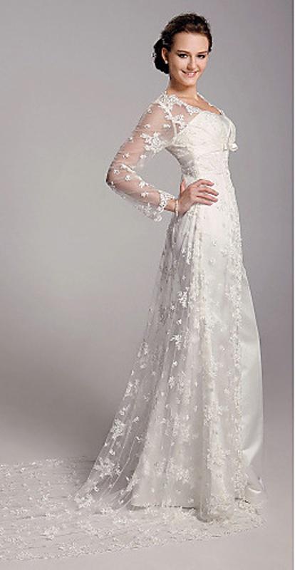 Biele dlhé svadobné saténové šaty s čipkovanou vlečkou s dlhým rukávom 111 e7613ac1c23