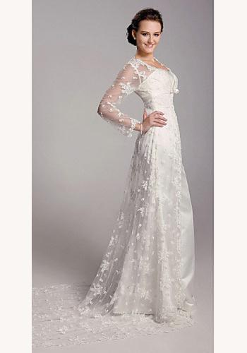 05fd30c28473 Biele dlhé svadobné saténové šaty s čipkovanou vlečkou s dlhým rukávom 111