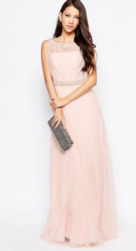 Ružové dlhé šaty s flitrami s tylovou sukňou bez rukávov 439AR fc57df5d49e