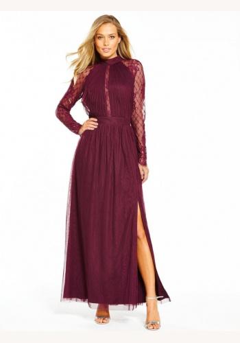 d7109617b204 Bordové dlhé šaty s čipkou s dlhým rukávom 440L