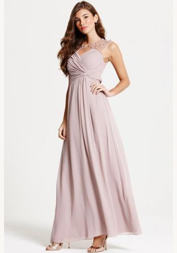 3fbc46a5493d Ružové dlhé šaty s perličkami bez rukávov 441L