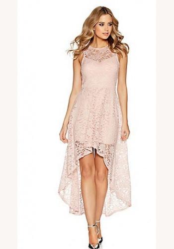Ružové asymetrické šaty s trblietavou čipkou bez rukávov 442Q 32bd8b3f0d4