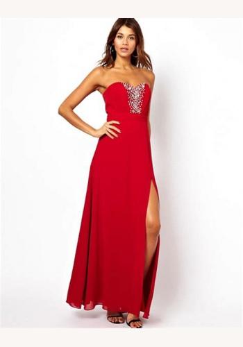 5cd811f7e763 Červené dlhé korzetové šaty so štrasom s rozparkom 382LP