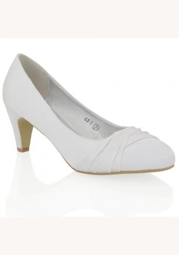 7cf1e30a95d1 Biele saténové svadobné topánky na nízkom opätku 068E