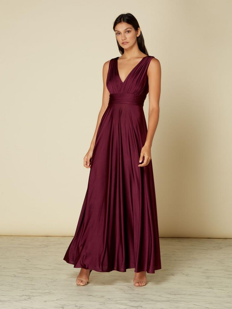 e05b0010de6c Bordové dlhé šaty s výstrihom bez rukávov 443I - Salón Emily
