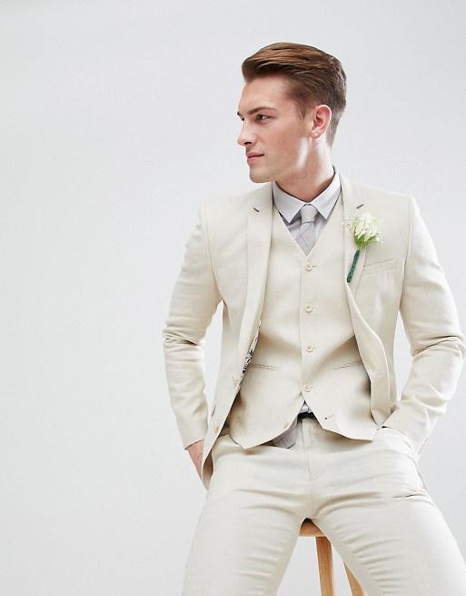 a5a5702f0740 Krémový pánsky svadobný 3-dielny ľanový oblek super skinny 041A ...