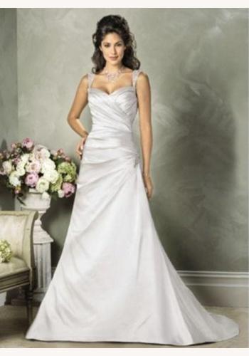 8ce99c8e8dea Biele dlhé svadobné saténové šaty na ramienka 120