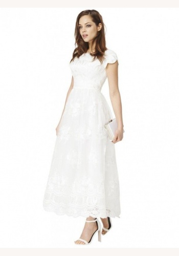 13b791c64da9 Biele midi čipkované šaty s krátkym rukávom 198C