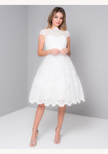 Biele midi čipkované šaty s krátkym rukávom 199C f11509bb619