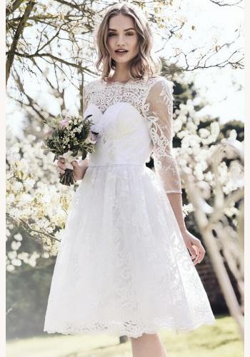96dd394c8305 Biele midi čipkované šaty s 3 4 rukávom 200C