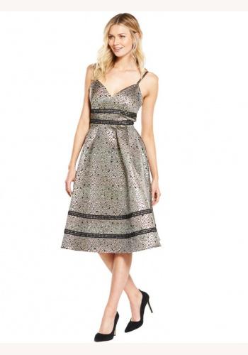6bdc830409d4 Zlato-čierne metalické midi brokátové šaty 201V