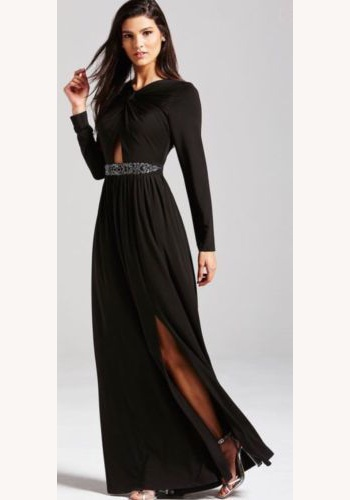 b237207c37a6 Čierne dlhé šaty s dlhým rukávom 421L