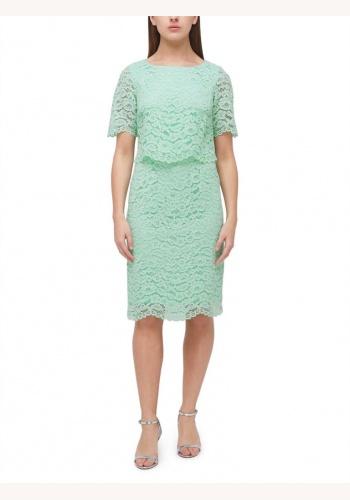 eb0471cf26dd Mentolovo-zelené midi čipkované šaty s krátkym rukávom 203JVa