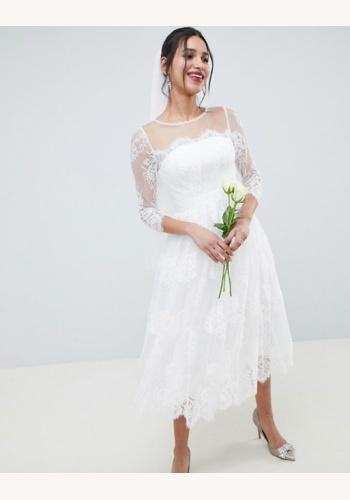 802243c4923f Biele midi čipkované šaty s 3 4 rukávom 201A