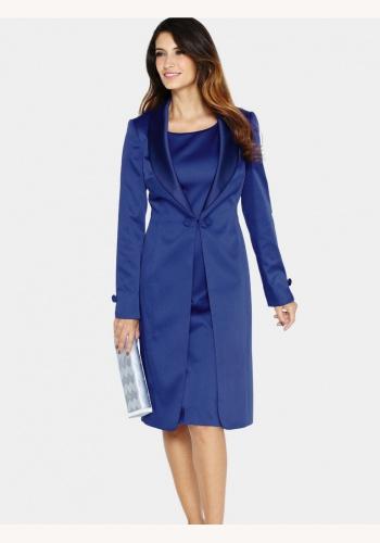 Modré midi šaty bez rukávov s kabátikom s dlhým rukávom 024BXa ca0c005b322