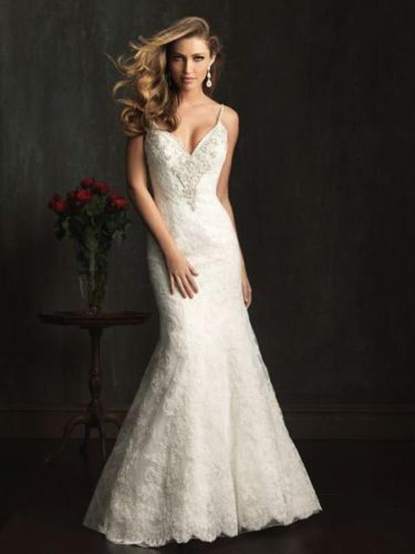 dd1048adb6a7 Smotanové dlhé svadobné čipkované šaty na tenké ramienka morská panna 130