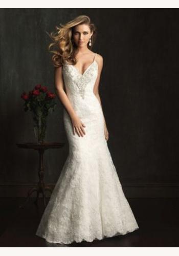 Smotanové dlhé svadobné čipkované šaty na tenké ramienka morská panna 130 923aa9fce36