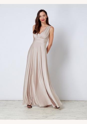 8d302e41efd1 Šampanské dlhé šaty s výstrihom bez rukávov 443Ia