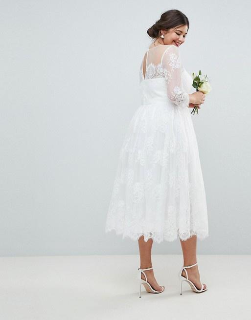 d30fd6a94dbd Plus biele midi čipkované šaty s 3 4 rukávom 201A - Salón Emily