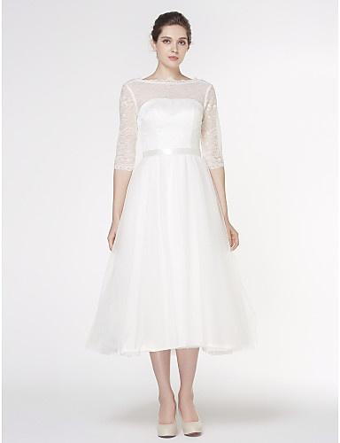 680a83800a54 Biele midi svadobné šaty s čipkovaným 3 4 rukávom 204LB - Salón Emily