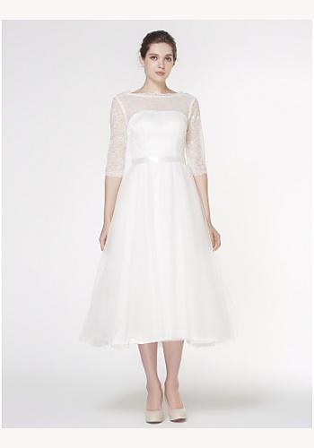 d388fe4a42c7 Biele midi svadobné šaty s čipkovaným 3 4 rukávom 204LB