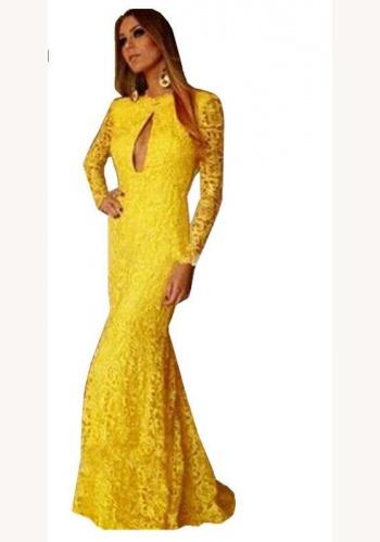 Žlté dlhé čipkované šaty s dlhým rukávom morská panna 448E b97401ba205
