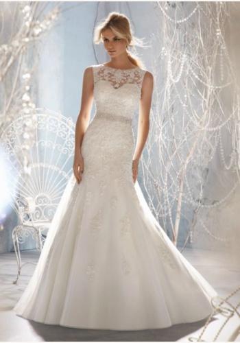 Biele dlhé svadobné čipkované šaty bez rukávov morská panna 138E ad67de5b9fd