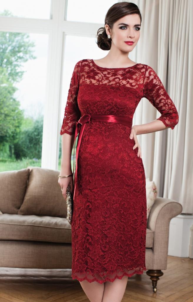 Tiffany Rose červené midi tehotenské šaty s 3 4 rukávom 296TR cc5e88d01d9